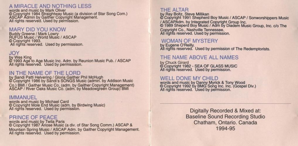 Lyric mary did u know lyrics : Judy Paling My Wings CD | Chatham Music Archive